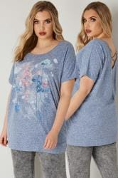 Blue Marl Floral & Butterfly Print T-shirt With Cross Over Straps