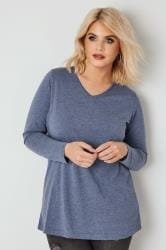 Blue Marl Long Sleeved V-Neck Jersey Top