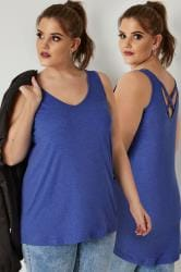 Blue Marl Longline Vest Top With Cross Over Straps