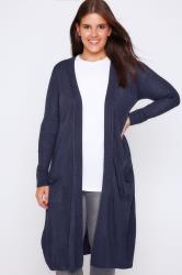 Blue Maxi Knit Cardigan With Pockets