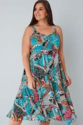 Blue & Multi Bright Pattern Dress With Embellished Neckline