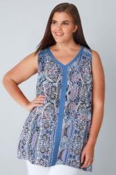 Blue & Multi Paisley Print Sleeveless Top With Contrast Trim
