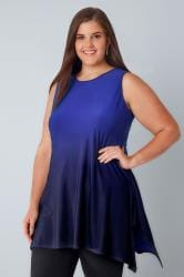 Blue & Navy Ombre Slinky Stretch Sleeveless Top With Cut Out Back