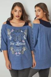 Blue & Navy 'Tres Luxueux' Bardot Top With Eyelet Lattice Sleeves