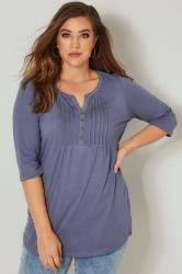 Mid Blue Pintuck Jersey Top
