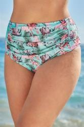 Blue & Pink Floral Print Bikini Briefs With Ruched Panel