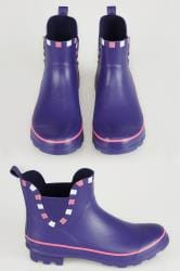 Blue & Pink Trim Wellington Ankle Boots In True EEE Fit