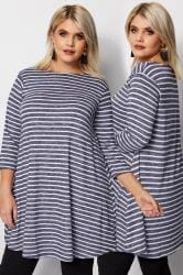 Blue Striped Longline Swing Top
