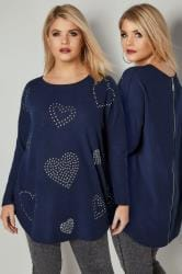 Blue Studded Heart Print Fine Knit Top With Zip Back