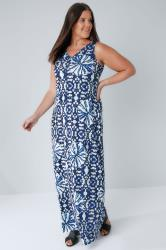 Blue & White Circle Tie Dye Print Jersey Maxi Dress With V-Neck