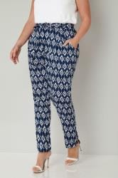 Blue & White Diamond Print Tapered Leg Trousers
