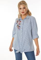 Blue & White Pinstripe Shirt With Floral Embroidered Patch