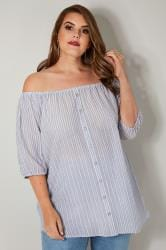 Blue & White Stripe Bardot Top With Mock Button Detail