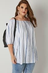 Blue & White Striped Bardot Top With Mock Button Detail