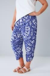 Blue & White Tie Dye Cropped Harem Trousers With Ruched Cuffs