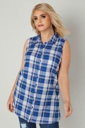 Blue Woven Check Sleeveless Shirt