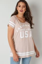 Blush Pink 'California' Varsity Print T-Shirt