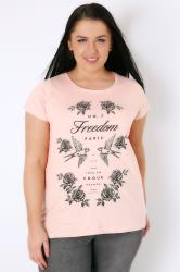Blush Pink Freedom Slogan & Bird Print T-Shirt