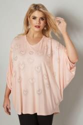 Blush Pink Heart Studded Cape Top