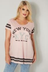 Blush Pink Varsity Jersey Top With Step Hem