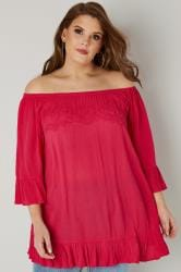 Bright Pink Bardot Gypsy Top With Beaded Details & Flute Sleeves