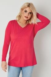 Bright Pink Long Sleeved V-Neck Jersey Top