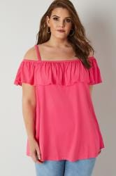 Bright Pink Frilled Bardot Top