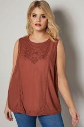 Brown Floral Broderie Sleeveless Top