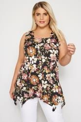 Brown Floral Hanky Hem Swing Top