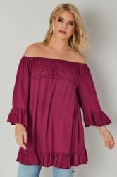 Burgundy Bardot Gypsy Top With Beaded Details & Flute Sleeves