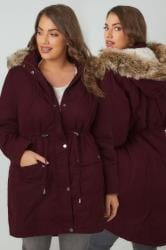 Burgundy Cotton Parka With Faux Fur Trim Hood