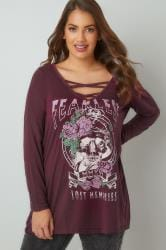 Burgundy 'Fearless' Slogan Print Top With Lattice Neckline