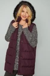Burgundy Longline Padded Gilet With Faux Fur Trim Hood