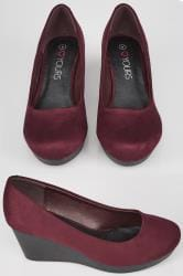 Burgundy Faux Suede Wedge Heels In TRUE EEE Fit