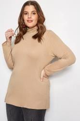 Camel Turtleneck Top