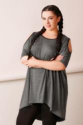 Charcoal Contrast Bind Top With Cold Shoulder Cut Outs & Extreme Dipped Hem