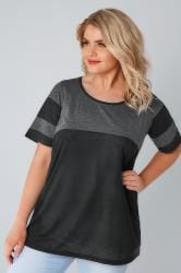 Charcoal Grey & Black Colour Block Baseball T-Shirt