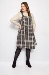 Charcoal Grey Check Pinafore Dress