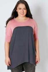 Charcoal Grey & Pink Cold Shoulder Jersey Top With Dipped Hem
