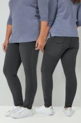 Charcoal Grey Pull On Stretch SHAPER Jeggings