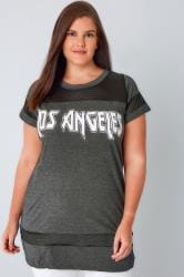 Charcoal 'Los Angeles' Top With Mesh Inserts