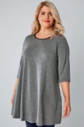 Charcoal Marl Longline Jersey Swing Top With PU Trim & Half Sleeves