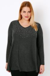 Charcoal Marl Swing Top With Diamante Stud Embellishment