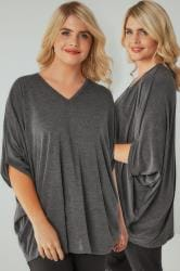 Charcoal Marl V-Neck Oversized Cape Style Jersey Top