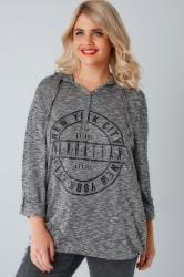 Charcoal New York Slogan Popper Hooded Top With Bubble Hem