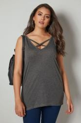 Charcoal V-Neck Vest Top With Cross Over Strap Detail