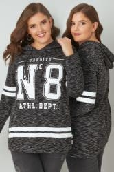 Charcoal & White Varsity Slogan Print Hooded Sweatshirt