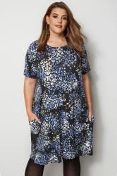 Cobalt Blue Animal Print Drape Pocket Dress