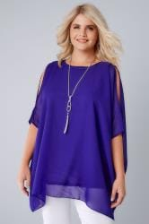 Cobalt Blue Cold Shoulder Chiffon Top With Batwing Sleeves and Free necklace