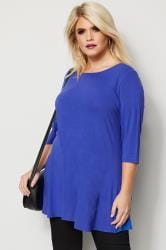 Cobalt Blue Longline Top With Envelope Neckline